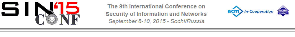 SIN2015 - The 8th International Conference on Security of Information and Networks